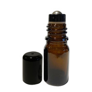 5ml Essential Oil Boston Round Glass Bottles With Stainless Steel Metal Roller Ball Inserts