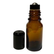 10ml Essential Oil Boston Round Amber Glass Bottles With Stainless Steel Metal Roll On Inserts