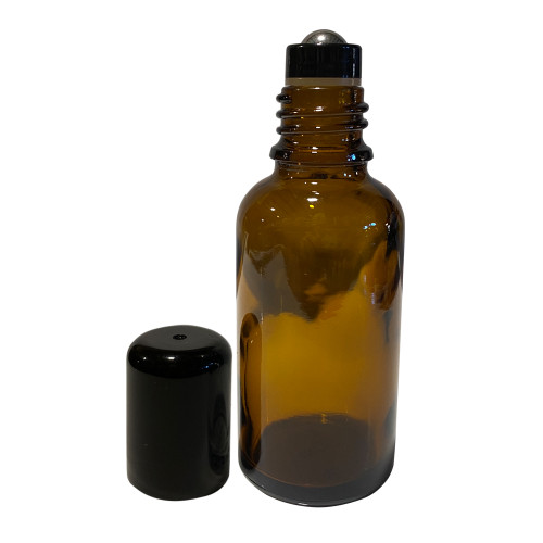 30 ml Amber Bottles For Essential Oils with Stainless Steel Rollerball Inserts