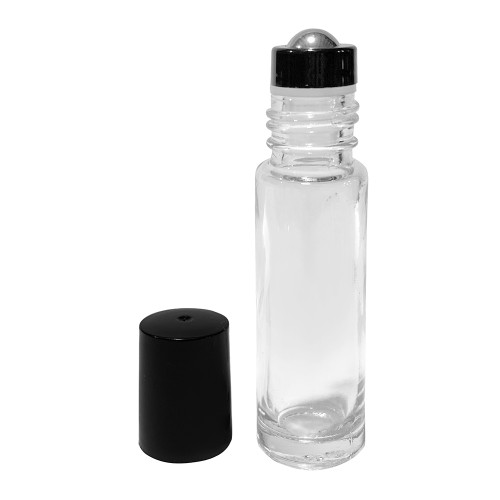 Wholesale 10 ml Clear Glass Roller Bottles with Stainless Steel Roll On Inserts and Black Cap