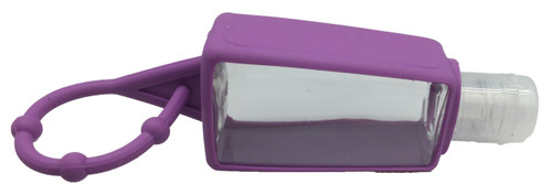 30ml Hand Sanitizer Plastic Bottles With Purple Silicone Holders For Backpacks & Purses