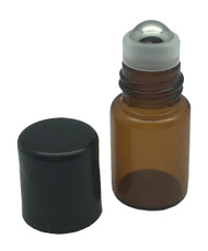 2 ml Amber Glass Vials with Metal Roll-Ons and Black Caps