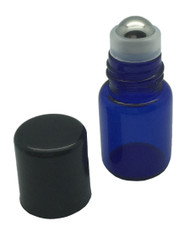 Sample 2 ml Blue Glass Bottles with Stainless Steel Metal Rollerballs and Black Lids
