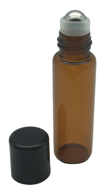5 ml Amber Glass Bottles with Stainless Steel Metal Rollerballs and Black Lids