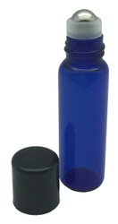 5 ml Blue Glass Vials with Metal Roll-Ons and Black Caps