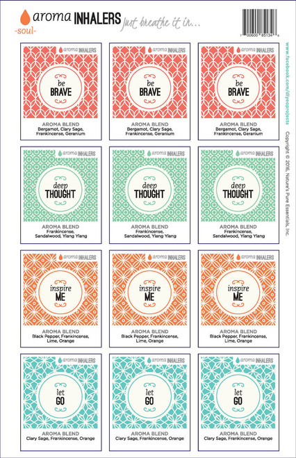 Aroma Inhalers Soul Just Breathe It In DIY Essential Oil Projects Labels
