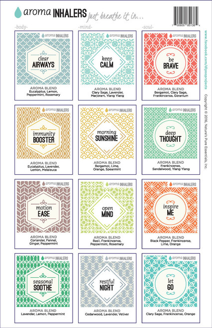 Aroma Inhalers Full Set Just Breathe It In DIY Essential Oil Projects Labels