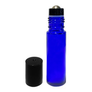 Wholesale 10 ml Blue Glass Roller Bottles with Stainless Steel Roll On Inserts and Black Caps