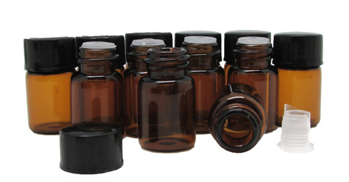 1ml Amber Essential Oil Bottles with Orifice Reducers and Black Caps