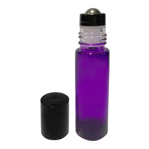 10ml Purple Glass Roller Bottles with Metal Roll On Inserts For Essential Oil Blends