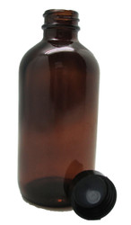 8oz Amber Glass Bottle with Black Cap