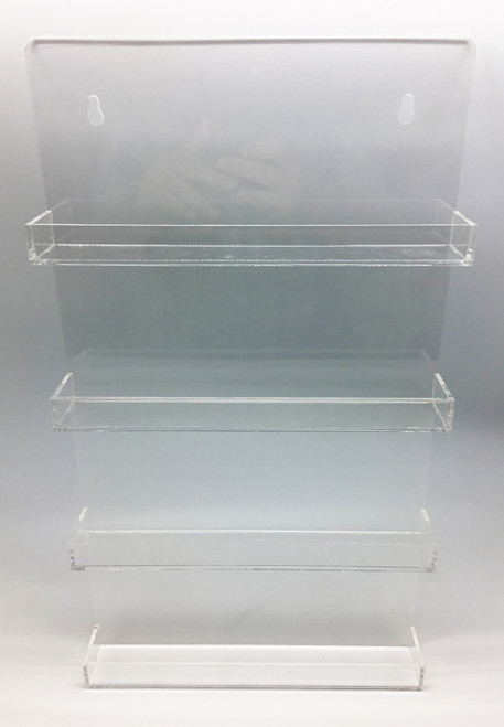 Clear Acrylic Essential Oil Bottle Wall Display Rack With 4 Shelves