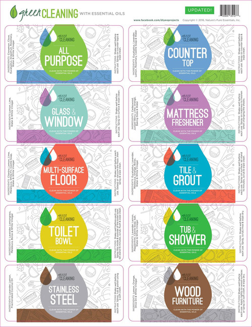 Green Cleaning With Essential Oils Assorted Labels