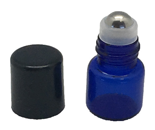 Sample 1 ml Blue Glass Bottles with Stainless Steel Metal Rollerballs and Black Lids