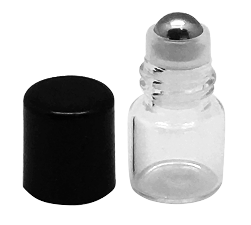 Sample 1 ml Clear Glass Bottles with Stainless Steel Metal Rollerballs and Black Lids