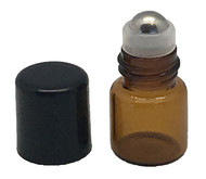 Sample 1 ml Amber Glass Bottles with Stainless Steel Metal Rollerballs and Black Lids