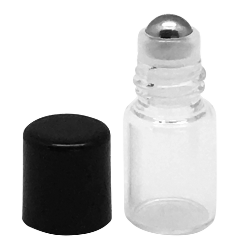 Sample 2 ml Clear Glass Bottles with Stainless Steel Metal Rollerballs and Black Lids