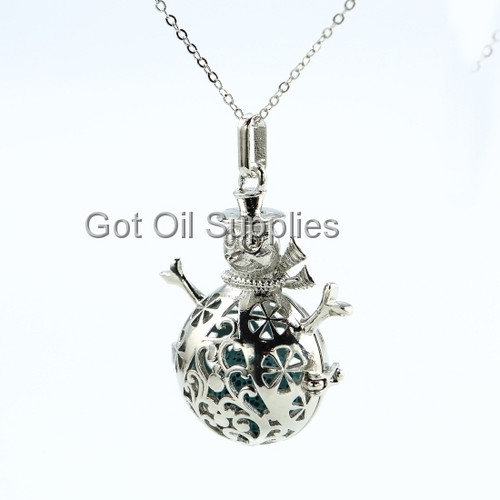 Silver Snowman Essential Oil Diffuser Jewelry Necklace With Blue Lava Stone Bead