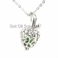 Green Lava Bead Silver Apple Essential Oil Lava Jewelry Pendant Necklace For Aroma Therapy