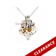 Silver Flower Essential Oil Lava Jewelry Pendant Necklace For Aromatherapy With Interchangeable Lava Beads Yellow