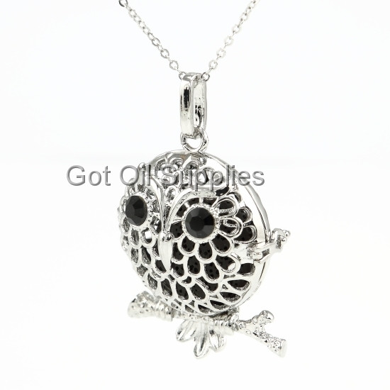 f5a366434c6280 Silver Night Owl Essential Oil Lava Jewelry Diffuser Necklace With ...