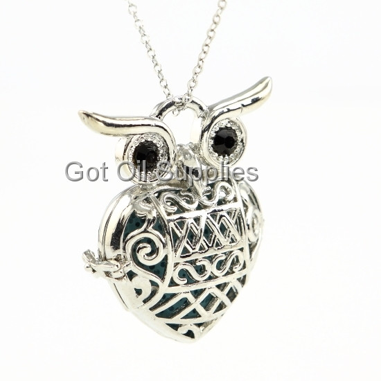 48641787032b71 Large Silver Heart Shaped Owl Essential Oil Lava Jewelry Necklace ...