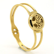 Gold Tree of Life Essential Oil Diffuser Stainless Steel Bracelet For Aromatherapy
