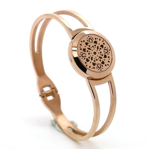 Rose Gold Sun Burst Essential Oil Diffuser Stainless Steel Bracelet For Aromatherapy