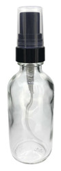 2 oz Clear Boston Round Spray Bottle With Fine Mist Sprayer For Essential Oils