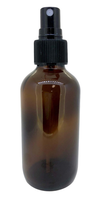 4 oz Amber Glass Boston Round Bottle With Black Fine Mist Sprayer For Essential Oils