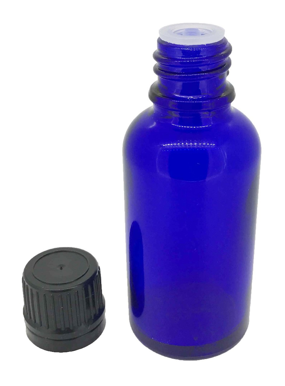85efc796bf99 30 ml Cobalt Blue Boston Round Bottles with Orifice Reducers and Caps