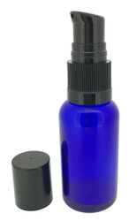 30 ml Cobalt Blue Boston Round Glass Essential Oil Bottles with Cream Pumps