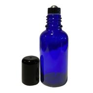 30ml Cobalt Blue Essential Oil Boston Round Glass Bottles With Stainless Steel Roller Ball Inserts