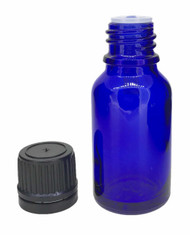 15 ml Boston Round Glass Blue Essential Oil Bottles with Orifice Reducers and Black Caps