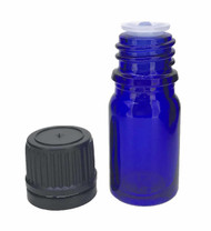 5 ml Boston Round Glass Cobalt Blue Essential Oil Bottles with Orifice Reducers and Black Caps