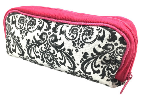 Damask Essential Oil Travel Bag with Hot Pink Trim