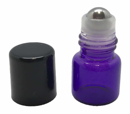 Sample 1 ml Purple Glass Bottles with Stainless Steel Metal Rollerballs and Black Lids