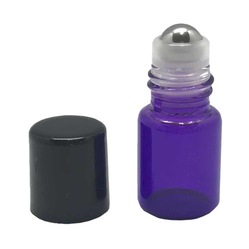 Sample 2 ml Purple Glass Bottles with Stainless Steel Metal Rollerballs and Black Lids
