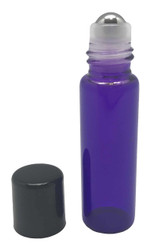 5 ml Purple Glass Bottles with Stainless Steel Metal Rollerballs and Black Lids