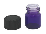 1 ml Boston Round Glass Purple Essential Oil Bottles with Orifice Reducers and Black Lids