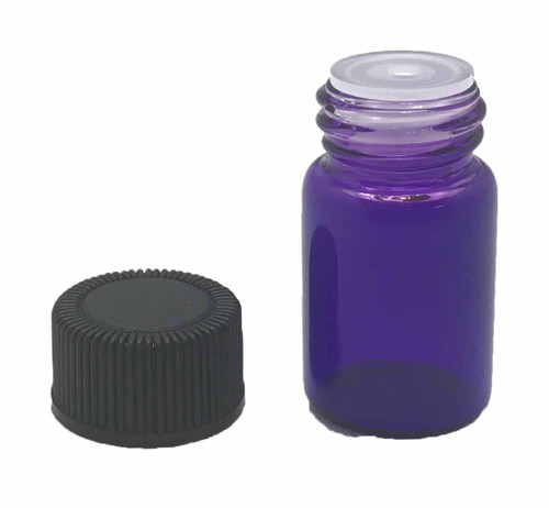 2 ml Boston Round Glass Purple Essential Oil Bottles with Orifice Reducers and Black Lids