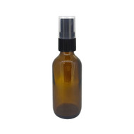 2oz Amber Boston Round Spray Bottle With Fine Mist Sprayer For Essential Oils