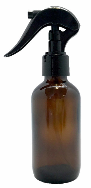 4 oz. Amber Glass Bottle with Black Trigger Spray Top For Essential Oil Blends