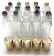 Chakra Gemstone Rollerball Inserts with Essential Oil Roller Bottles with Gold Lids