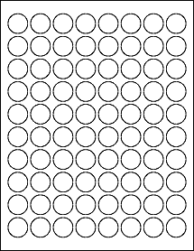 "80 0.875"" Blank White Circle Labels"