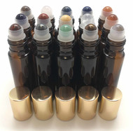 Chakra Gemstone Rollerball Inserts with Essential Oil Amber Roller Bottles with Gold Lids