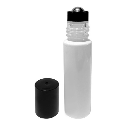 10 ml White Glass Roller Bottles with Metal Roll On Inserts and Black Lids For Essential Oil Blends