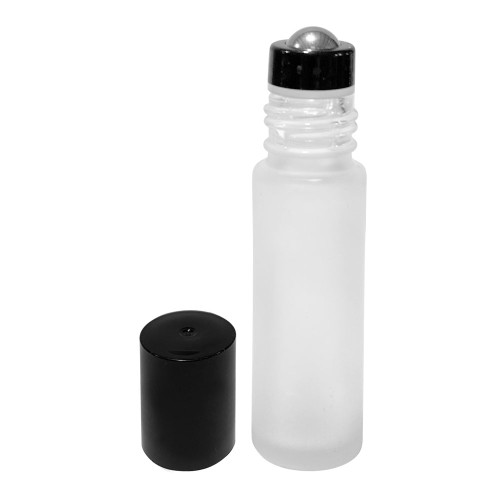 Wholesale 10 ml Frosted Clear Glass Roller Bottles with Stainless Steel Roll On Inserts and Black Caps for Essential Oils