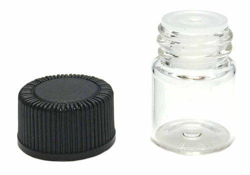 1 ml Boston Round Glass Clear Essential Oil Bottles with Orifice Reducers and Black Lids