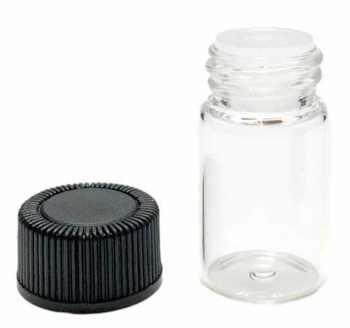 2 ml Boston Round Glass Clear Essential Oil Bottles with Orifice Reducers and Black Lids